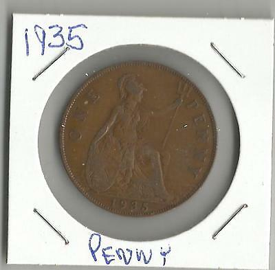 GREAT BRITAIN 1935 ONE 1 PENNY GEORGE V BRITISH WORLD COIN BRONZE 30.7mm
