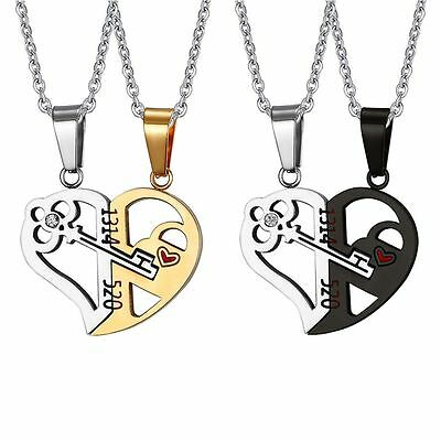 1 Pair Stainless Steel Love Heart Key Pendant Chain Necklace Couple Crystal