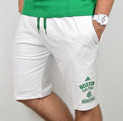 Adidas Boston Celtics Herren Sweat Shorts Bermuda Jogging Hose kurz weiß/grün L