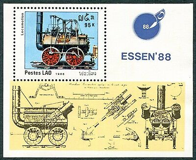 LAOS 1988 95k SG1077 MNH FG Essen 88 Stamp Fair Early Railway Locomotives #W31