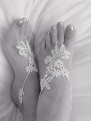 White Crochet and Lace Barefoot Sandals-Handmade- Foot Jewellry-One size-Wedding