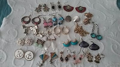 Vintage Earrings Lot, 23 Pairs, Glass, Rhinestone, Gold Tone, Some Signed