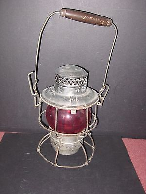 Canadian Pacific Railway- Hiram Pipper Lantern. Wood top bail. Red globe.   bd