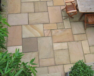 Golden Buff Indian Sandstone Paving Natural Stone Patio Flags Garden Slabs 19m2