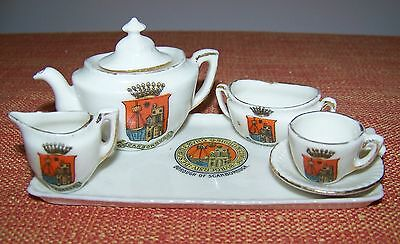GOSS ? Tea Set Tray Teapot Creamer Sugar Teacup & Saucer Borough Of Scarborough