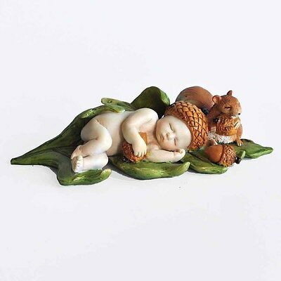 """4602 Sleeping Ebony Fairy Baby With Squirrel African American Miniature 1.5/"""""""
