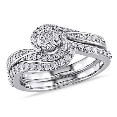 10k White Gold Fn Halo Promise Ring Engagement Bridal Set 925 Sterling Silver