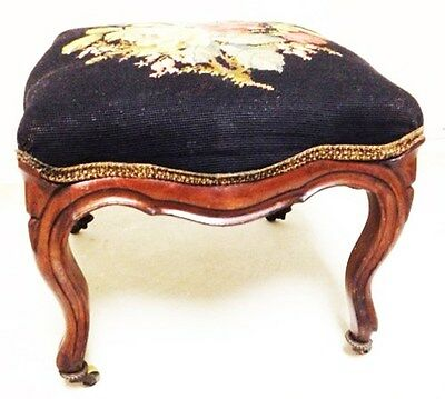 Estate -Vintage Needlepoint Footstool
