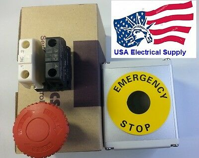Red  Emergency Stop Push Button Metal Station 1NO 1NC 110/250VAC 10A