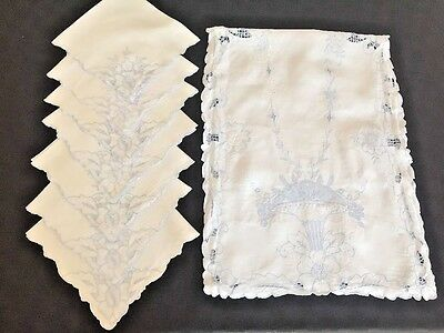 Gorgeous VTG Cutwork Linen Runner Napkins Embroidery BLUE Cutwork Antique 8pc