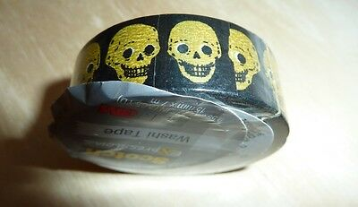 Scotch Expressions washi tape roll Halloween gold skulls black back 7.65 yd, 3M
