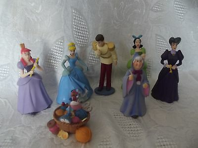 Disney Cinderella Lot of 7 PVC Figures Princess Prince Step Sisters & Mother