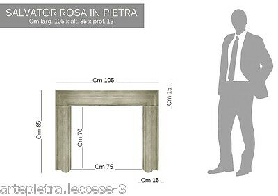 Cornice Camino Salvator ROSA in PIETRA LECCESE Fireplace Mantel MADE IN ITALY