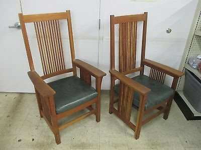 Pair of Stickley Mission Style Spindle Arm Chairs Signed Leather Seats (CI)