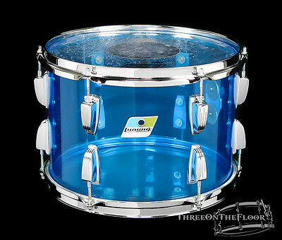 1976 Ludwig Blue Vistalite Tom 9 x 13 Drum : Beautiful Condition Blue Olive