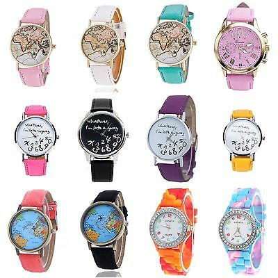 Womens Girls Fashion Wrist Watches Trendy Faux Leather Silicone Watch UK SELLER