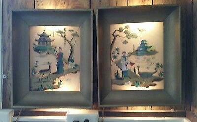Pair of Vintage 50's Lighted Reverse Painted Glass Shadow Box Picture Oriental