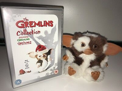 "Gremlins Bundle - NECA 6"" Smiling Gizmo Soft Plush Figure Toy & Double DVD Set"