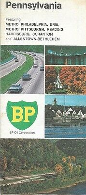 1969 BP OIL Road Map PENNSYLVANIA Allentown Scranton Philadelphia Pittsburgh