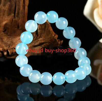 Natural 8mm Blue Jade Chalcedony Round Gemstone Beads Bracelet Bangle 7.5'' AAA