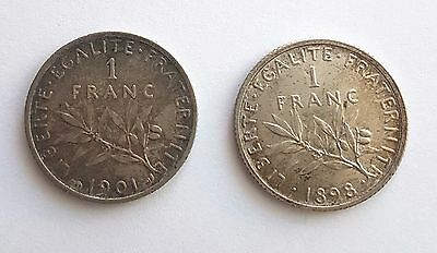 LOT 2 pieces/ 1 FRANC argent 1898, 1901 (K188)
