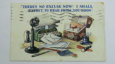 Vintage Comic 1927 Postcard Antique Typewriter Candlestick Telephone Post Stamps