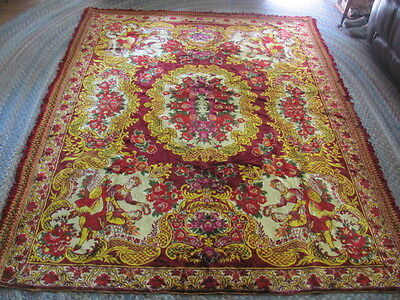 Vintage tapestry  bedspread  bright reds yellows dancers flowers wall hanging
