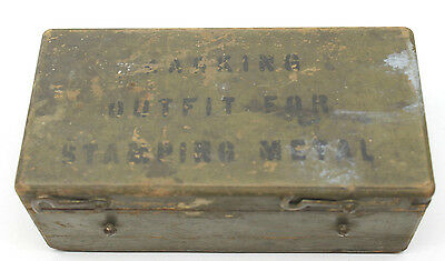 WW2 Marking Outfit For Stamping Metal Dog Tags Parts Punches+Wood Box Antique