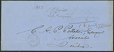 1863 Stampless, Industry LC to Quebec, 2x Unpaid Letter Rate + 2c Carrier Fee