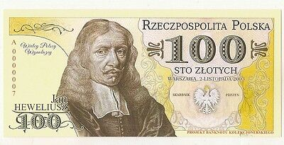"""POLAND 100 ZLOTYCH  Project collector note """"JAN HEWELJUSZ"""" / UNC"""