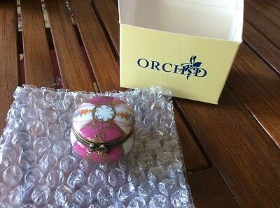 limoge style china pill box by orchid, new with box