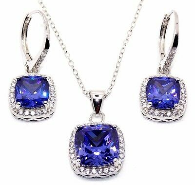 Sterling Silver Tanzanite And Diamond 8.46ct Cluster Necklace Set (925)