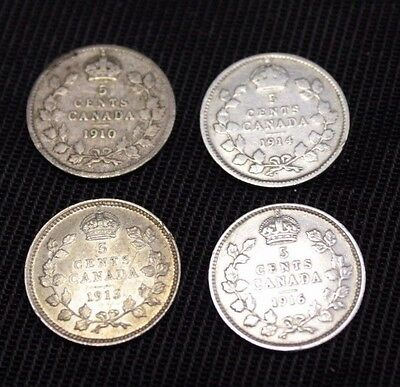 Canada 5 Cents 1910 1913 1914 1916  lot of 4 coins