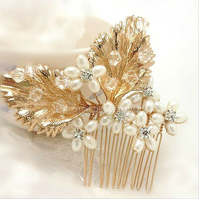 """Gold Leaves Pearls Crystals Bridal Hair Comb Barrette 3.25"""" GORGEOUS!"""