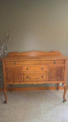 Antique Solid Oak Buffet/sideboard Queen Anne English Server