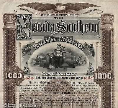 RARE ORIG 1893 NEVADA SOUTHERN RWY COUPON ($25 in GOLD) BOND PRINT $15 ORIG $500