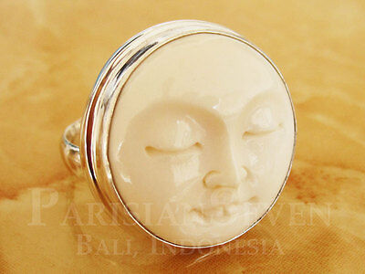 Beautiful Moon Face Carving Bali Sterling Silver 925 Ring Size 6 7 8 9 10 M224