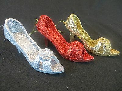 Lot Of 3 Glittered High Heel Shoes Christmas Ornaments - Shoe Christmas Ornament