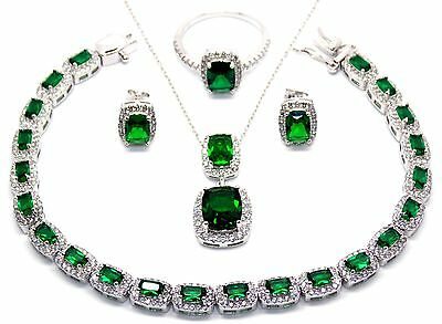 Sterling Silver Emerald And Diamond 30.21ct Emerald Cut Necklace Set (925)