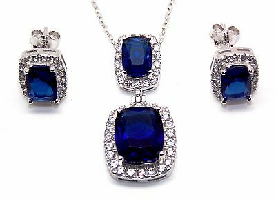 Sterling Silver Blue Sapphire And Diamond 11.75ct Necklace Set (925)