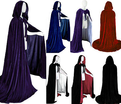 Velvet Halloween hooded cloak wedding cape wicca robe Fancy Dress Vampire Gothic