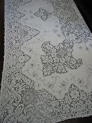 """Vintage Quaker Lace Tablecloth 102"""" by 62"""" Victorian style, #7140, Ecru"""