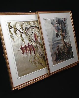 RARE Vintage Japanese Silk Embroidery Picture / 3D Art / Asian / Matching Pair