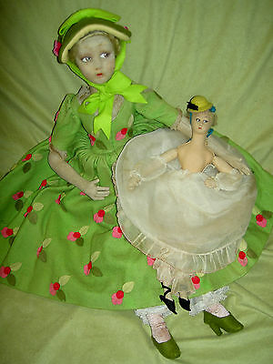 Extremely Rare, 1924 antique LENCI miniature BOUDOIR doll, Colombina (or?) XLNT