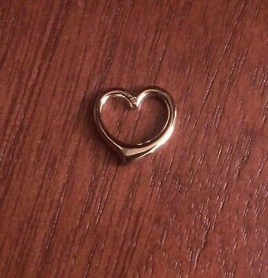 14K Yellow Gold Small Polished Floating Heart Slide  Pendant Charm   1 Gram