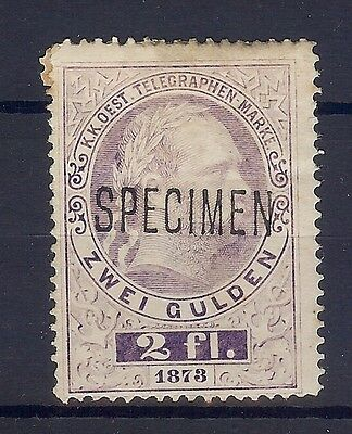 Austria Hungary Telegraph 1873 Two Gulden Stamp Overprinted Specimen See Scan