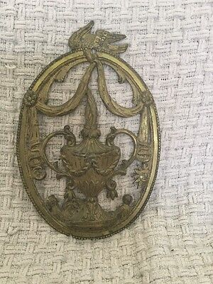 Antique Decorative Brass Wall Plaque - Looks To Be Victorian