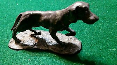 "Pewter Figure Dog POINTER Handcrafted USA  Dog 4"" x 2 1/4"""