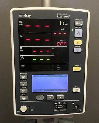 Mindray Accutorr V 0998-00-2000-933A Monitor with NIBP, Nellcor SpO2 and Printer