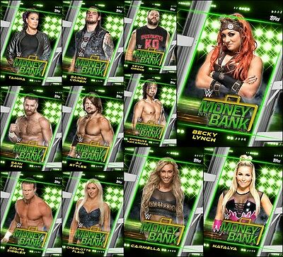 Topps SLAM WWE Money in the Bank FULL 11 Card [GREEN SET] Lynch/Owens/Styles+++